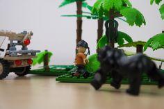Cobi soldier running away from a gorilla.