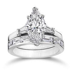 Marquise engagement and wedding set
