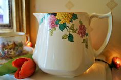 A very pretty vintage jug, decorated with hydrangeas, lemon detail and moulding. A fabulous pitcher for water or flowers perhaps. c.1930 by Alexsprettyvintage on Etsy