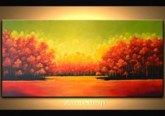 Bright abstract landscape painting red orange trees by ZarasShop