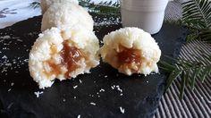 Boule de riz au lait de coco et son cœur de crème de marron. Mashed Potatoes, Ethnic Recipes, Food, Rice Puddings, Conkers, Greedy People, Kitchens, Whipped Potatoes, Smash Potatoes