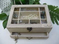 Beige Shabby Chic Wooden Jewelry Box with flowers by tammnoony