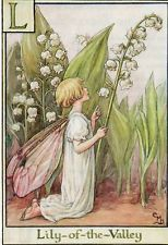 Flower Fairy Alphabet L Lily of the Valley Vintage Print Mary Barker