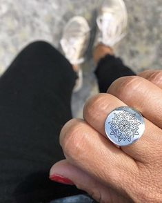 We're fist bumping Wednesday morning and celebrating short weeks with @gypsytigerlily and our sterling silver Mandala Ring.www.uberkate.com.au