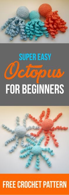 Octopus crochet pattern by The Cat and Wool - # crochet pattern . - Knitting for beginners,Knitting patterns,Knitting projects,Knitting cowl,Knitting blanket Octopus Crochet Pattern Free, Diy Crochet Patterns, Animal Sewing Patterns, Crochet Diy, Knitting Patterns, Free Pattern, Crochet Octopus, Crochet Patterns Free Easy Quick, Crochet Ideas To Sell