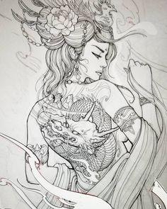 Geisha design for client Geisha Tattoos, Geisha Tattoo Design, Irezumi Tattoos, Japanese Tattoo Art, Japanese Tattoo Designs, Japanese Art, Japanese Tattoo Women, Japanese Kimono, Geisha Kunst