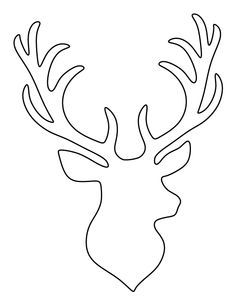 Stag head pattern. Use the printable outline for crafts, creating stencils, scrapbooking, and more. Free PDF template to download and print at http://patternuniverse.com/download/stag-head-pattern/                                                                                                                                                                                 More