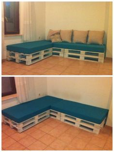 Tutorial: Pallet L Shaped Sofa For Patio Couch Easy . DIY Pallet Sofa With Storage Home Design Garden . Home Design Ideas Diy Furniture Couch, Diy Couch, Diy Pallet Furniture, Diy Pallet Projects, Furniture Makeover, Pallet Ideas, Outdoor Furniture, Wood Projects, Garden Furniture