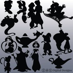 12 Aladdin Silhouette Digital-Clipart-Bilder von OMGDIGITALDESIGNS