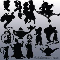 12 Aladdin Silhouette Digital-Clipart-Bilder von OMGDIGITALDESIGNS