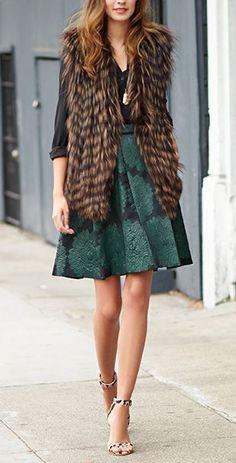 faux fur & emerald green