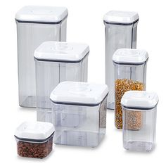 OXO Good Grips® Square Food Storage Pop Containers - BedBathandBeyond.com - I love this. I want these.