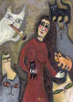 CAT Chagall Inspired Art Print  Girl with her CATS  Folk by 3crows