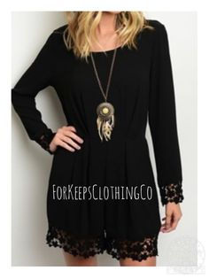 """GORGEOUS ❤️❤️❤️❤️ BLACK ROMPER    33"""" long, so classy and perfect for a night out with your man or your friends! Or can be dressed down for day wear!    100% polyester with crocheted sleeves/hem. Has round neckline with cute v-back.    $30 with FREE SHIPPING in the US!!    Will ship by 2/25. 