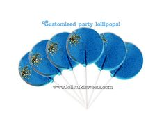1/2 dozen Pinch of Gold  Blue lollipops by lollitukisweets on Etsy