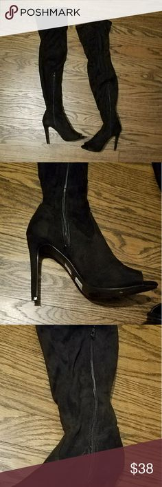 Over the Knee High Faux Suede Black Boots Heel is about 4inches side zippers Windsor Shoes Over the Knee Boots