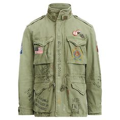 Beautiful Men's Polo Ralph Lauren U.S Flag Military Patch Army Graphic Field Jacket - L Mens Jackets from top store Military Field Jacket, Combat Jacket, American Flag Patch, Army Camo, Jackets Online, Polo Ralph Lauren, Mens Fashion, Herringbone, Polo Blue