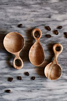 Hand Carved Scoop Set Wooden Coffee Scoops American Made Wooden Spoon Carving, Carved Spoons, Wood Spoon, Wood Carving, Wooden Kitchen, Wooden Hearts, Wood Art, Hand Carved, Wood Colors