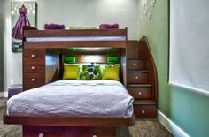 Twin over Queen bunk bed with stairs that double as drawers