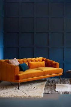 Earl Grey Sofa upholstered in Orange Mohair Velvet. With extra deep seats there's room for the kids and the cat. by Love Your Home living room ideas sofa ideas modern chesterfield sofa orange sofa velvet sofa home decor ideas interior design ideas Living Room Sofa, Home Living Room, Living Room Designs, Living Room Furniture, Home Furniture, Living Room Decor, Furniture Design, Dark Furniture, Furniture Sets