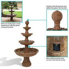 Sunnydaze Decor 80 in. Large Tiered Ball Outdoor Fountain-FC-73803 - The Home Depot Outdoor Electrical Outlet, Slate Kitchen, Submersible Pump, Outdoor Lighting, Outdoor Decor, Electronic Recycling, Recycling Programs, Resin Material, Cast Stone