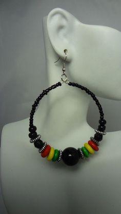 Black Beaded Rasta Hoop Earrings