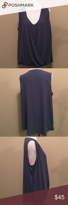 SLEEVELESS V-NECK TOP. SALE. REDUCED PRICE IS FIRM. Pleione Slate Blue Top Draped and Gathered Front. Pleione Tops
