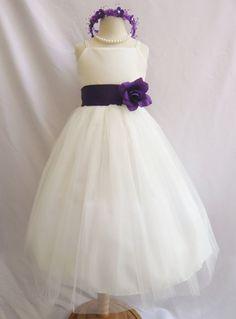 Flower Girl Dress IVORY/Purple Eggplant RB2 Wedding Children Easter Bridesmaid Communion Yellow Purple Eggplant on Etsy, $28.99