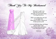 A4 Thank You To My Bridesmaid Poem - Wedding Day Gift (Pink Dress)