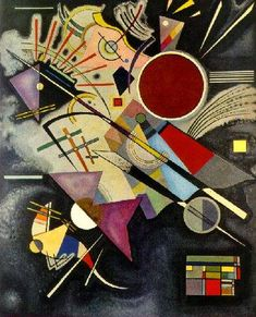 Black Accompaniment (1924) Vassily Kandinsky was an influential Russian painter and art theorist. He is credited with painting the first purely abstract works.  He taught at the Bauhaus school of art and architecture from 1922 until the Nazis closed it in 1933. Geometrical elements took on increasing importance in both his teaching and painting—particularly the circle, half-circle, the angle, straight lines and curves. This period was intensely productive.