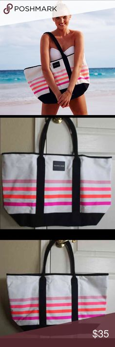 "Victoria Secret Limited Edition beach tote DESCRIPTION Victoria Secret Limited Edition tote 100% Canvas, 15"" L x 23"" W Victoria's Secret Swim"