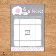 Pink and Gray Elephant Baby Shower Printable Bingo Game