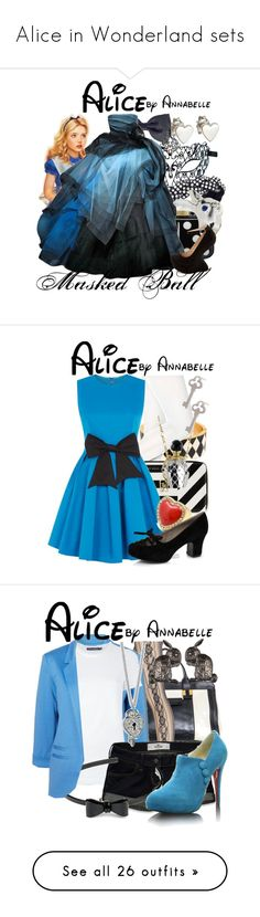 """Alice in Wonderland sets"" by annabelle-95 ❤ liked on Polyvore featuring Masquerade, Swarovski, Disney, Lulu Guinness, Oscar de la Renta, Me & Zena, Charlotte Russe, Jennifer Meyer Jewelry, Adia Kibur and HUE"