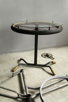 Bike coffee table made of bike parts