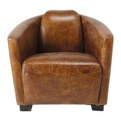 Lederen vintage zetel bruin - Oscar