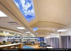 The Sky Factory Custom ceiling art uses ceiling tiles to create indoor sky