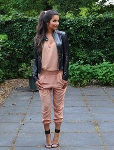 Salmon jumpsuit and leather coat