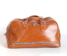 Vintage Bag-Brown-Duffle-Carry on-US luggage-Overnight Travel School Laptop Bag-Diaper Bag on Etsy, $44.50