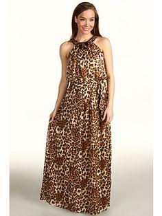 Eliza J Animal Print Maxi Dress w/ Beaded Neckline Animal - 6pm.com