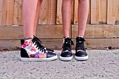 Jes and Stef from How Two Live in the Blazing Bloom Sneakers (http://www.nastygal.com/by-nasty-gal-shoes/blazing-bloom-sneaker) #ShoeCult
