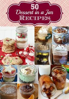In A Jar Recipes - 50 Great Ones! No Bake! TOP 50 Desserts in a jar recipes! These make wondering homemade gift ideas!TOP 50 Desserts in a jar recipes! These make wondering homemade gift ideas! Mason Jar Desserts, Mason Jar Meals, Meals In A Jar, Mason Jars, Mason Jar Cakes, Beaux Desserts, Köstliche Desserts, Dessert Recipes, Alcoholic Desserts