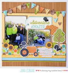 Doodlebug Flea Market Scrapbook Layout by Jana Eubank.