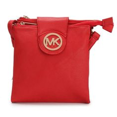 Michael Kors Fulton Pebbled Large Red Crossbody Bags Outlet