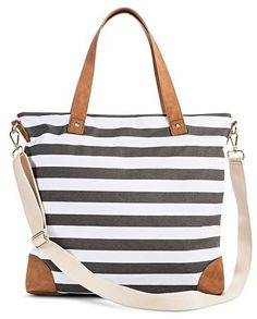 Merona® Women s Stripe Print Canvas Tote Handbag with Removeable Crossbody  Strap - MeronaTM  29.99 Stripe 644b1ed118c2b