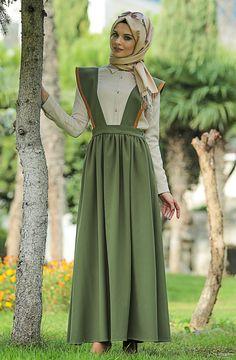 Butik Simge Salopet Elbise -Haki SE2388-27