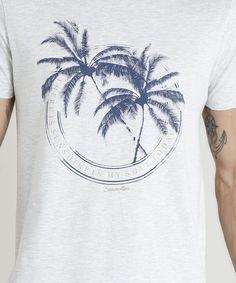 Camiseta Masculina com Estampa de Coqueiro Manga Curta Gola Careca Cinza Mescla Claro Shirt Print Design, Floral Print Shirt, Shirt Designs, Custom T Shirt Printing, Printed Shirts, Summer Prints, Surf Outfit, Streetwear, Trends