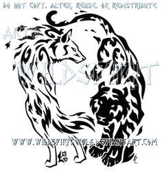 Elemental Wolf And Tiger Design by WildSpiritWolf
