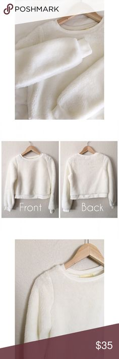 🆑Urban Outfitters Fur pullover (R) 🆑PRICE DROPPED🆑 👉🏼No Offer please. PRICE FIRM.👈🏼  Gorgeous faux fur fluffy pullover sweater, Pins and Needles brand. In cream. It fits relaxed bit boxy. Extra long sleeves. Crew neckline. Midweight. Feels buttery soft! Cute, super trendy! Perfect street-chic sweater to stay comfy in. Excellent condition. Like NEW! Size: M (BUT: fits snug, feels more like a Small)  Length: 18 in Shoulders: 14 in Pit to pit: 18 in Sleeve length: 23 in Urban Outfitters…