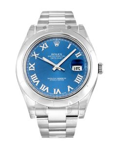 A 2014 Rolex Datejust II 116300 featuring a striking blue roman numeral dial