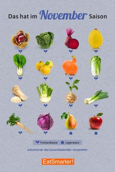 Fruits of the seasonal calendar u. Vegetables in November - Food Carving Ideas Clean Eating Recipes, Healthy Eating, Healthy Recipes, Essential Oils For Hair, Thanks Card, Food Facts, Nutrition Information, Vitamins And Minerals, Fruits And Vegetables